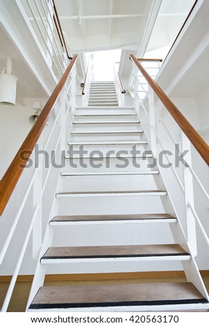 Staircase in a big cruise ship. - stock photo