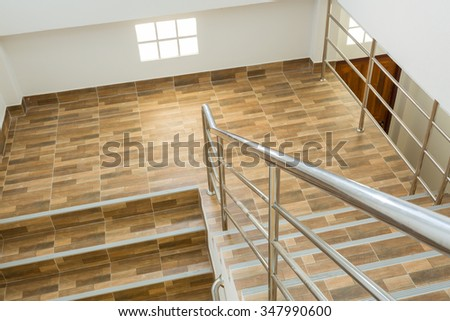 Staircase Residential House Stainless Steel Banister Stock Photo