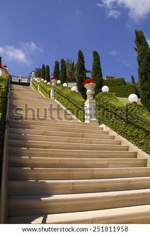 Staircase in the garden - stock photo
