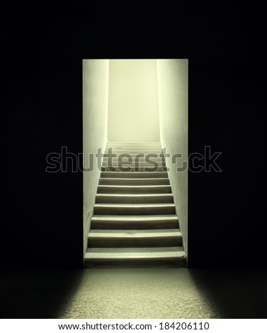 Staircase inside a room in the dark - stock photo