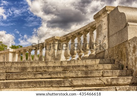 Staircase of a castle in Prague.staircase with columns,the ancient ladder,the ruins of ancient civilizations - stock photo