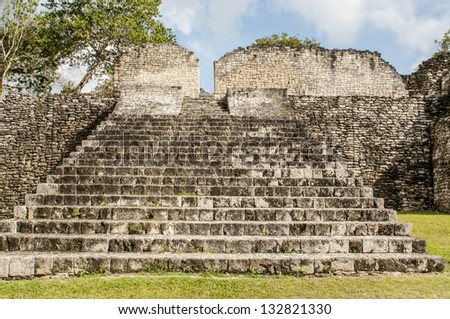 Staircase of Acropolis in Kohunlich Mayan ruins in Quintana Roo, Mexico - stock photo