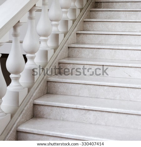 Staircase Of White Marble With Decorative Elements In Soft Natural Light,  Selective Focus, As