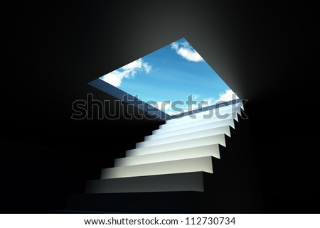 Staircase that symbolizes the destination to the new realities and opportunities. - stock photo