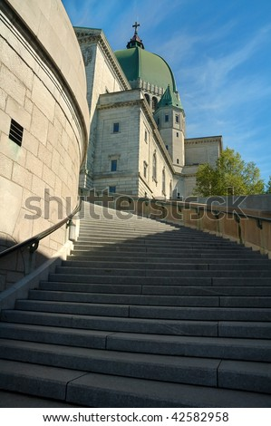 staircase to St. Joseph Oratory in Montreal, Canada. vertical photo - stock photo
