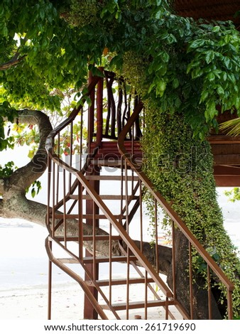 Staircase to wooden tree house - stock photo