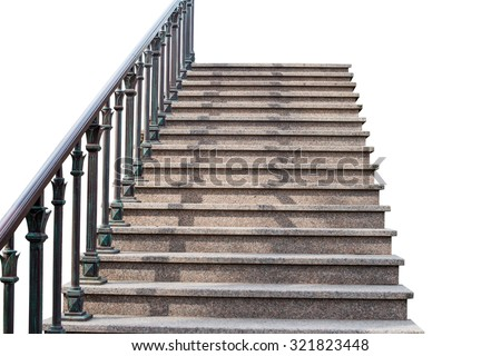 staircase with a handrail on a white background