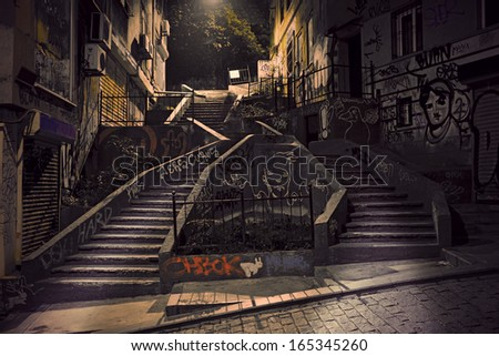 Staircase with graffiti in Beyoglu district of Istanbul, Turkey - stock photo