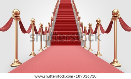 Staircase with red carpet 3D. Concept of success - stock photo