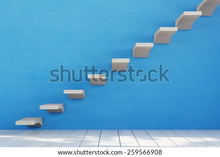 Staircase with single stairs on a blue wall (3D Rendering) - stock photo