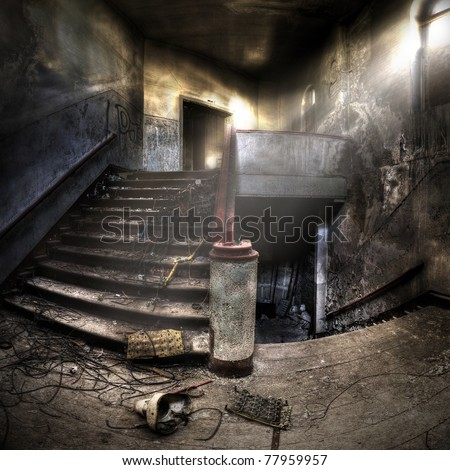 staircases in an abandoned complex, hdr processing - stock photo