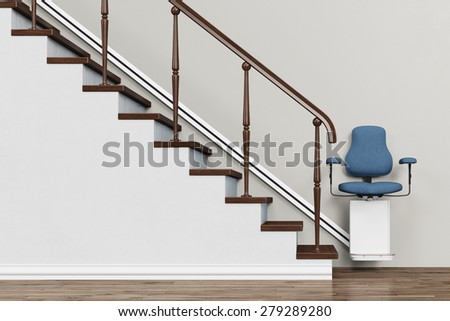 Stairlift on a staircase for accessible housing (3D Rendering) - stock photo