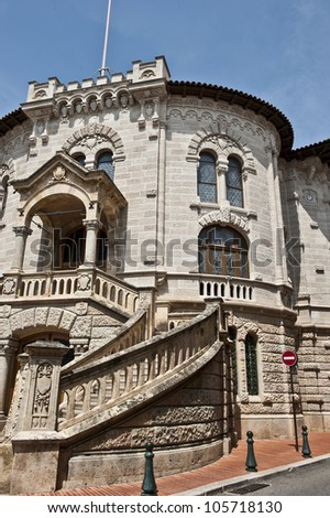 Stairs along the side of the Palace of Justice in Monaco. - stock photo