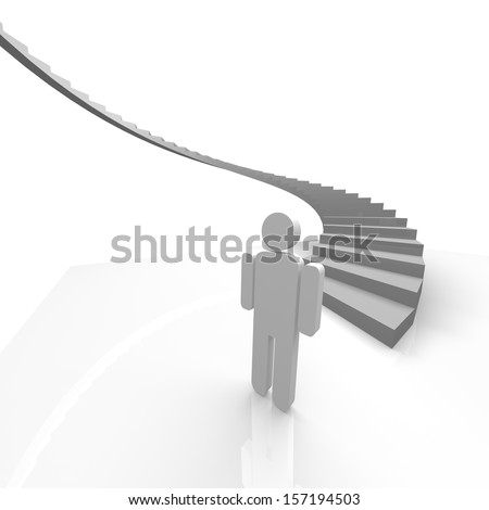 stairs and a man