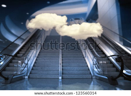 stairs and an escalator at an airport (image from interiors background series) - stock photo