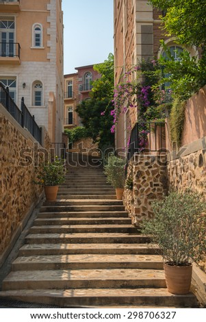 Stairs and houses in Eyrie, Khaoyai, Thailand