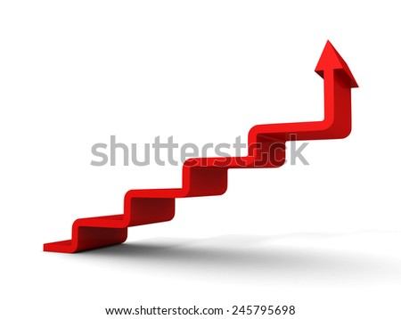 stairs arrow going upward grow on white background. success concept 3d render illustration - stock photo