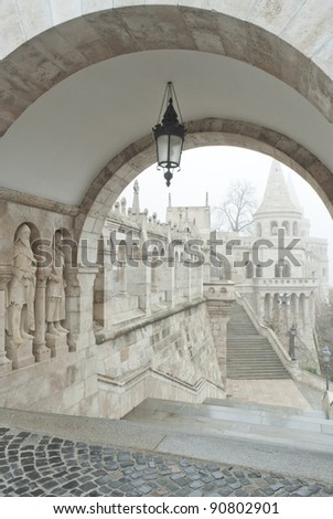 Stairs at Fisherman's Bastion, Budapest, Hungary - stock photo