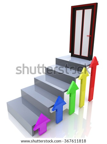 stairs going upward in the design of information related to the achievement of success - stock photo