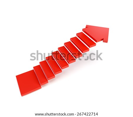 stairs going  upward, isolated 3d render - stock photo