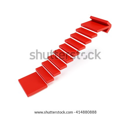 stairs going  upward, isolated 3d rendering - stock photo