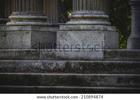 stairs, Greek-style columns, Corinthian capitals in a park - stock photo