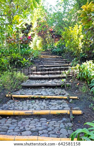 Natural Stone Landscaping Home Garden Stairs Stock Photo 59123698