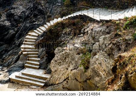 Stairs in Cap de Creus, Catalonia, Spain - stock photo