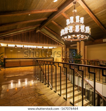 stairs in modern hotel - stock photo