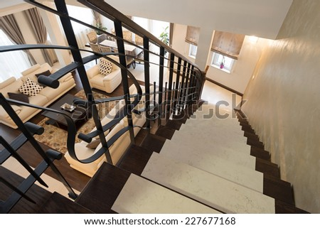 Stairs in modern luxury apartment - stock photo