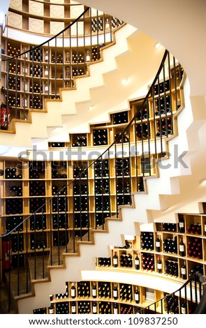 stairs in modern wine shop - stock photo