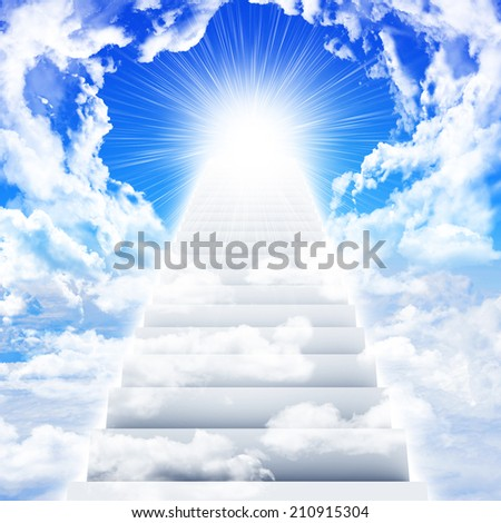 Stairs in sky with clouds and sun - stock photo