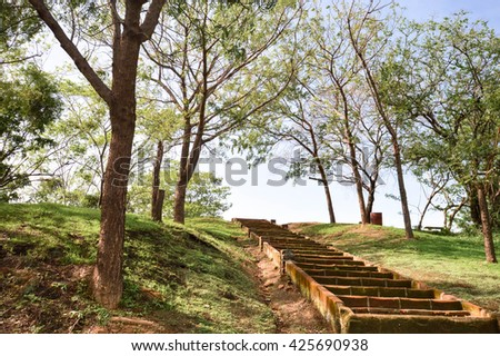 Stairs in the park within Leon Viejo - ruins of the old city of Leon, Nicaragua. The city was abandoned after the quake and Momtombo eruption in the 17th century. Unesco world heritage site - stock photo