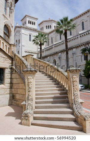 Stairs in the streets of Monaco - stock photo