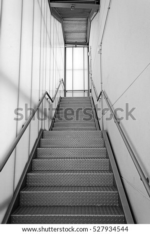 Stairs inside white and metal hospital, construction