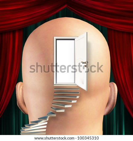 Stairs lead up to Door to  mind - stock photo