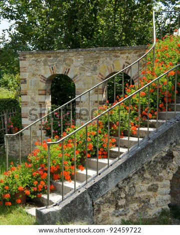 Stairs leading to a farmhouse at the Queen's Hamlet at Versailles, France