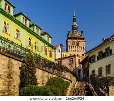 stairs leading to clock tower in Sighisoara, Transylvania, Romania - stock photo