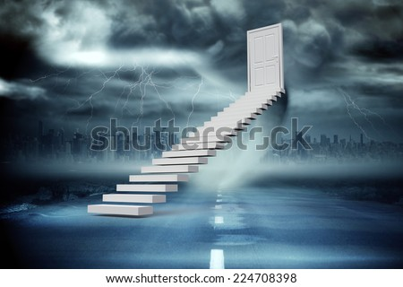 Stairs leading to door against stormy sky with tornado over road - stock photo