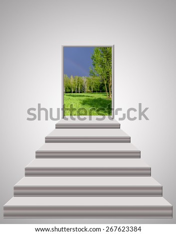 stairs leading to the door with thunder clouds and blue sky - stock photo
