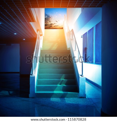 Stairs leading to the sky, abstract expression. - stock photo