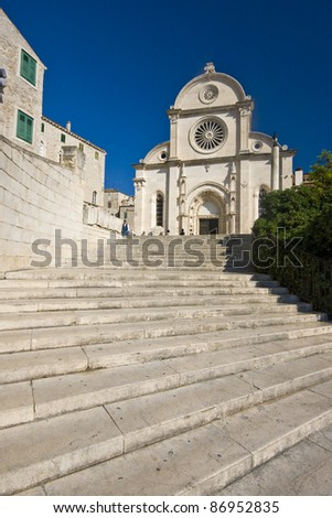 Stairs leading to the St.James cathedral in Sibenik, listed in the UNESCO world heritage, built in medival entirely of stone and marble - stock photo