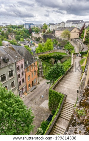 Stairs leading up to the Corniche in Luxembourg City - stock photo