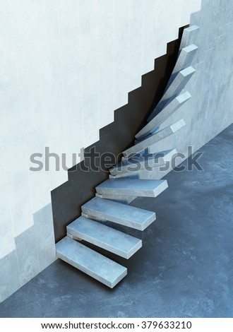 stairs leading upward, architectural composition - stock photo