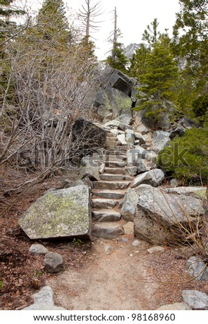 Stairs made up of rocks carved into the mountain at Lake Tahoe California. - stock photo