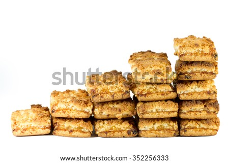 Stairs of biscuits with jam isolated on white