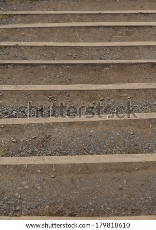 Stairs of ground and wood - stock photo