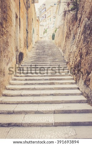 Stairs on the street of Valletta, Malta. Moving up to Success concept