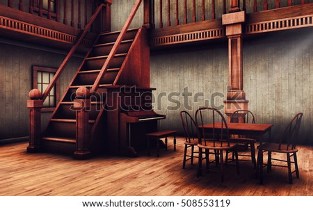 Stairs piano table old wild west stock illustration for Creatore del piano casa 3d