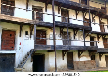 Stairs, ramps and doors of medieval fortified church in Prejmer, Transylvania, Romania